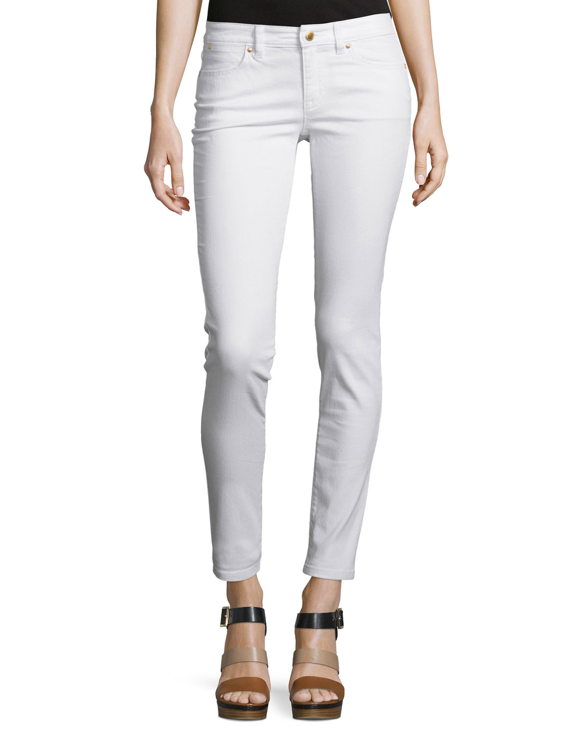 d819687468ff MICHAEL Michael Kors Izzy Low-Rise Skinny Jeans, White   Neiman Marcus