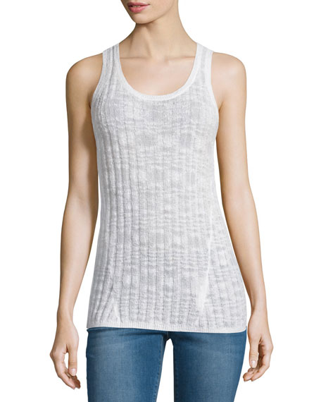 MICHAEL Michael Kors Scoop-Neck Ribbed Textured Tank, White