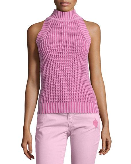 MICHAEL Michael Kors Acid Wash Mock-Neck Sleeveless Sweater