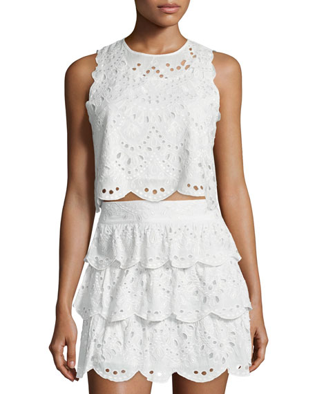 MICHAEL Michael Kors Sleeveless Eyelet Crop Top