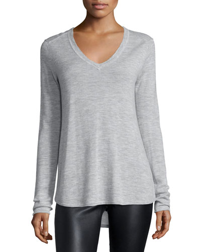 Cashmere V-Neck Sweater, Heather Gray