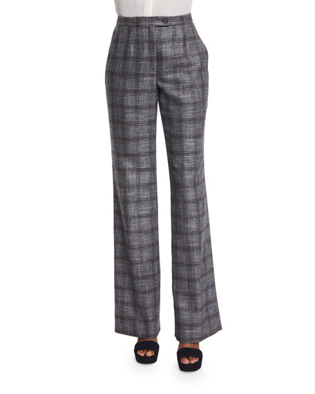 Carolina Herrera Straight-Leg Plaid Pants, Navy/Copper