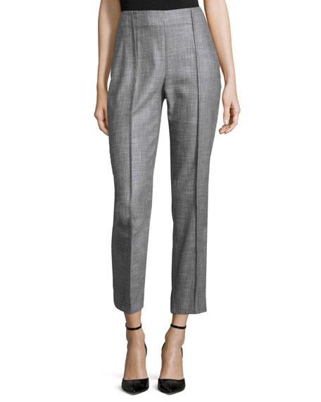 Carolina Herrera Slim-Leg Cropped Pants, Gray