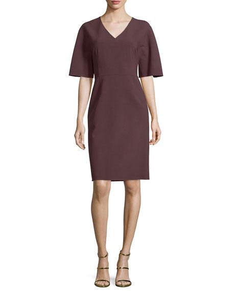 Carolina Herrera Kimono-Sleeve V-Neck Dress, Mahogany
