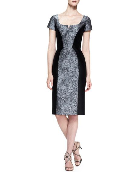 Carolina Herrera Short-Sleeve Broadtail Jacquard Dress, Gray/Black