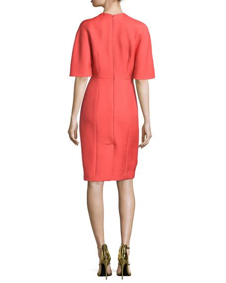 Kimono-Sleeve Jewel-Neck Dress, Lava Red