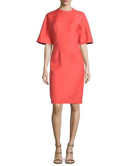 Carolina Herrera Kimono-Sleeve Jewel-Neck Dress, Lava Red