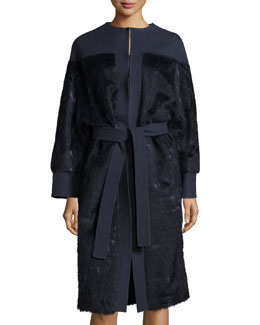 Long-Sleeve Belted Coat, Navy Blue