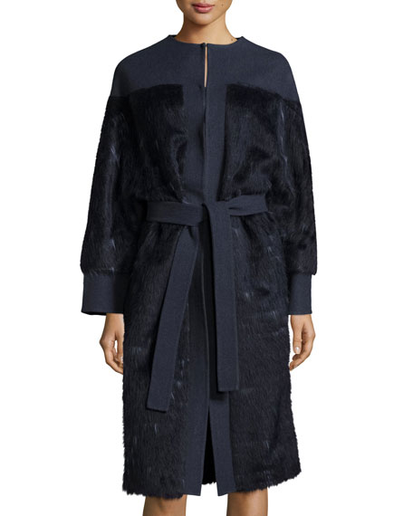 Carolina Herrera Long-Sleeve Belted Coat, Navy Blue