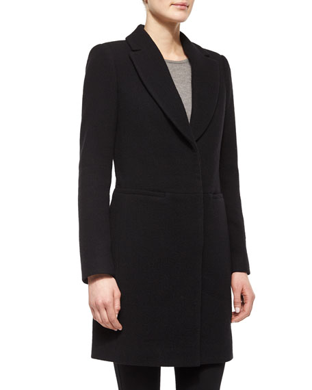 Halston Heritage Long-Sleeve Button-Front Coat, Black