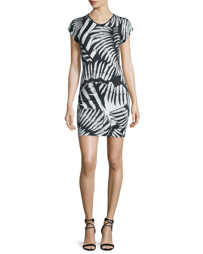 Kraken Printed Short-Sleeve Dress, Black/White