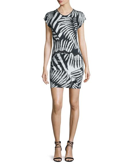 Just Cavalli Kraken Printed Short-Sleeve Dress, Black/White