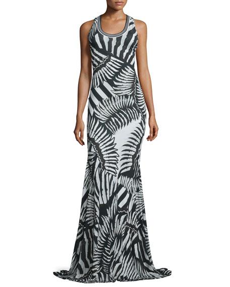 Just Cavalli Kraken Printed Scoop-Neck Maxi Dress, Black/White