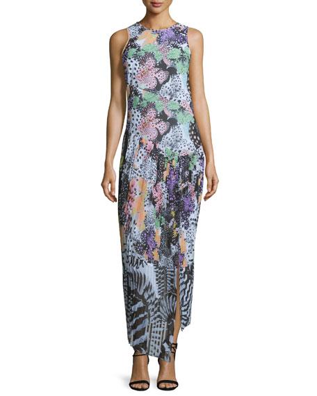Just Cavalli Orchid Asymmetric Fish-Print Maxi Dress, Multi