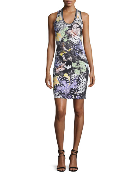 Just Cavalli Orchid Sleeveless Fish-Print Dress, Multi