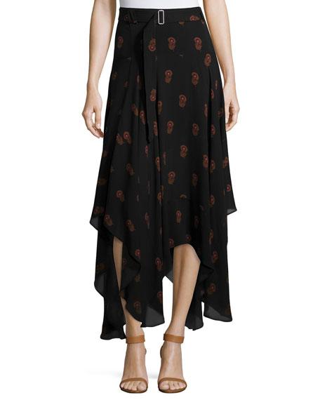 A.L.C. Claudio Silk Dahlia Midi Skirt, Black/Brown