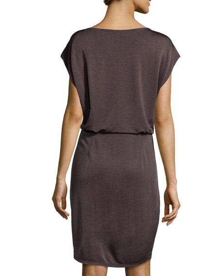 Cap-Sleeve Tie-Knot Dress, Bark