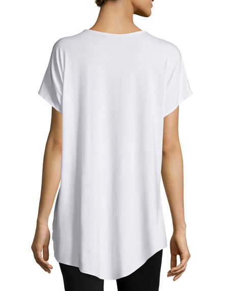 Short-Sleeve Rounded-Hem Tee, White