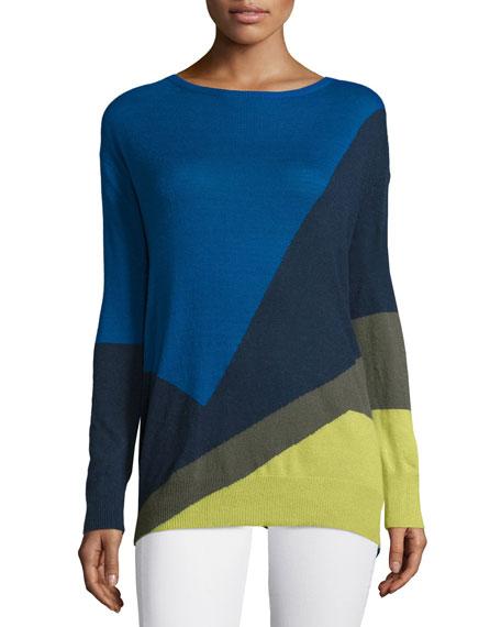 Halston Heritage Long-Sleeve Colorblock Sweater, Crimson/Boysenberry
