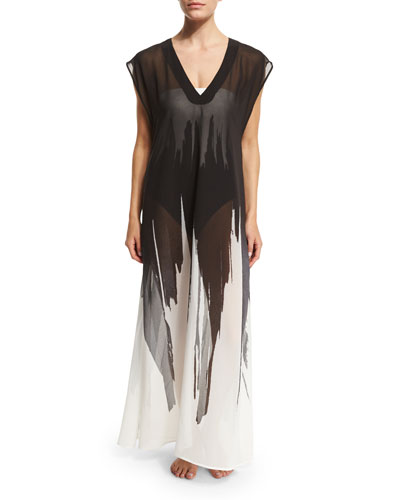 Brushstroke Printed V-Neck Coverup Maxi-Length Tunic