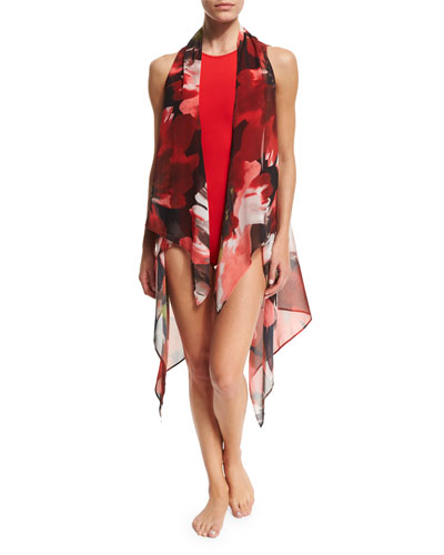 Peony-Print Open-Front Coverup