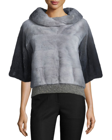 Carolina Herrera Half-Sleeve Mink-Fur Pullover, Dark Gray