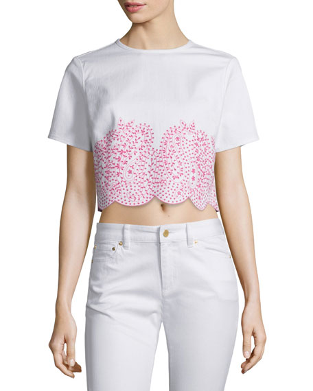 MICHAEL Michael Kors Embroidered Denim Crop Tee &