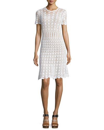 Short-Sleeve Crocheted Sweater Dress