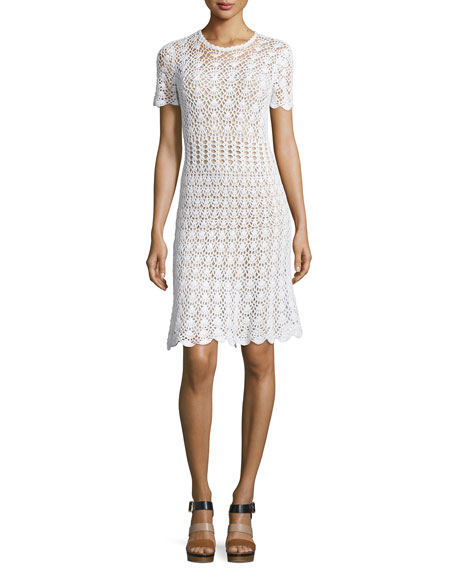 MICHAEL Michael Kors Short-Sleeve Crocheted Sweater Dress