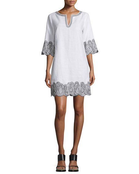 MICHAEL Michael Kors 3/4-Sleeve Lace-Trim Linen Tunic Dress, White/Black