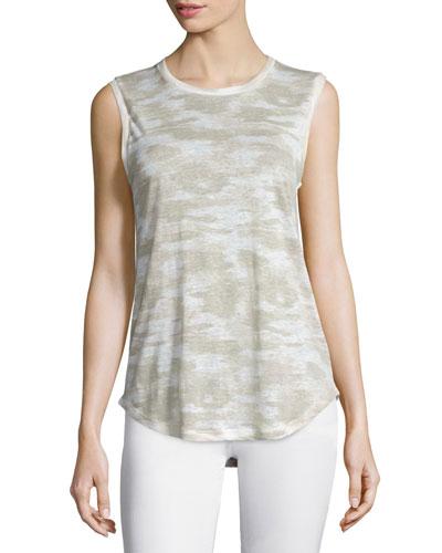 Ashton Jewel-Neck Linen Muscle Tee, Urbano Warp