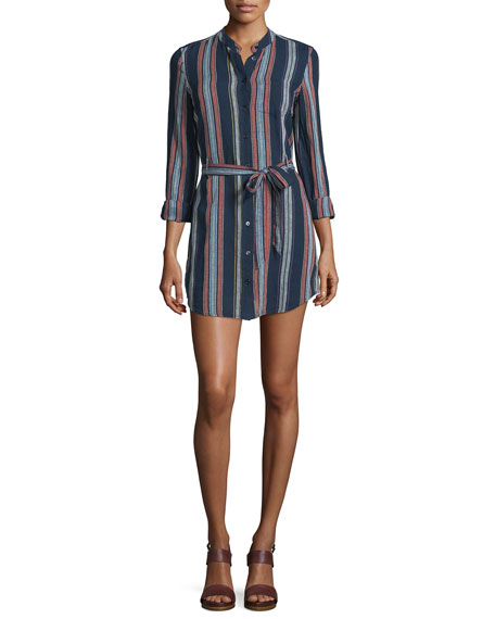 AG Jett Long-Sleeve Belted Shirtdress, Versi Linen Blue