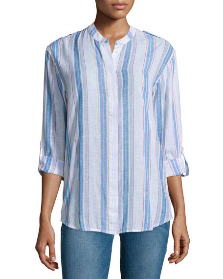 AG Briar Long-Sleeve Striped Shirt, Versi Linen True
