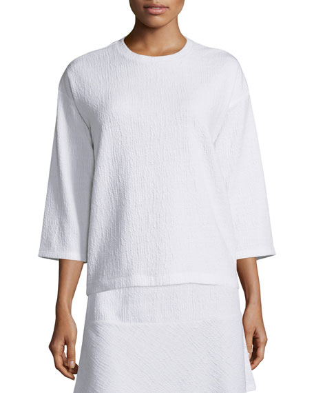 MICHAEL Michael Kors 3/4-Sleeve Dropped-Shoulder Top, White