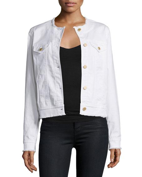 MICHAEL Michael Kors Denim Jacket W/Raw-Edge Trim, White