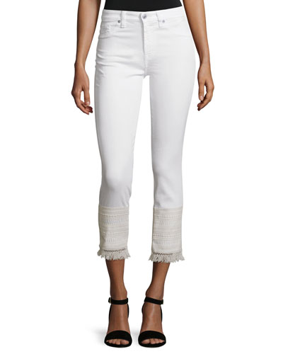 Skinny Cropped Jeans W/Fringe Lace Hem, White