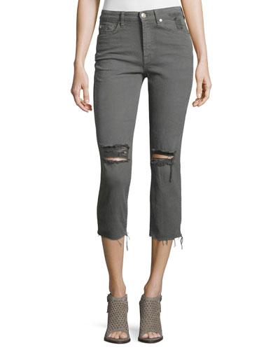 Distressed Cropped Jeans W/Raw Hem, Green