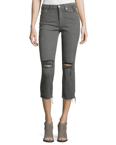 7 For All Mankind Distressed Cropped Jeans W/Raw