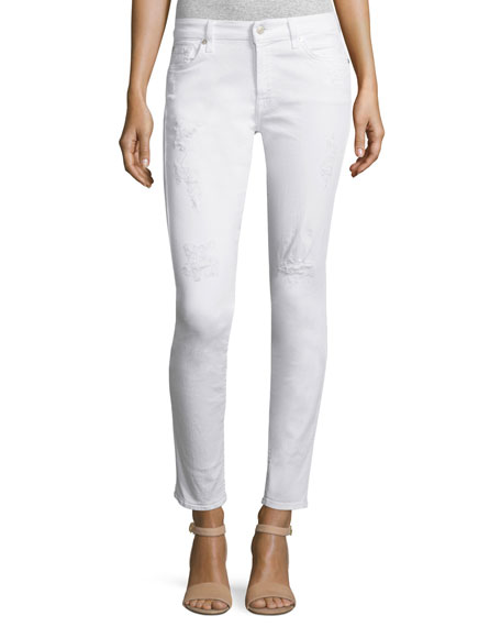 The Ankle Distressed Skinny Jeans, White
