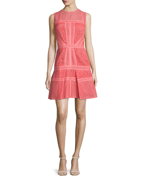 J. Mendel Mixed-Lace Paneled Dress, Aurora