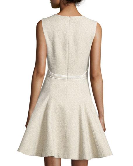 Sleeveless Godet-Pleated Dress, Cargo/Multi