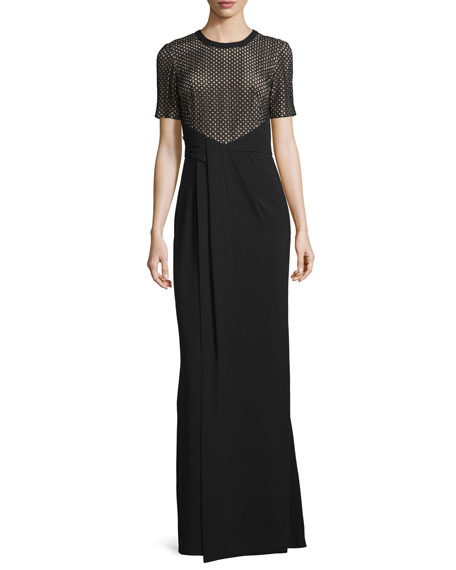 J. Mendel Short-Sleeve Faux-Wrap T-Shirt Gown, Noir