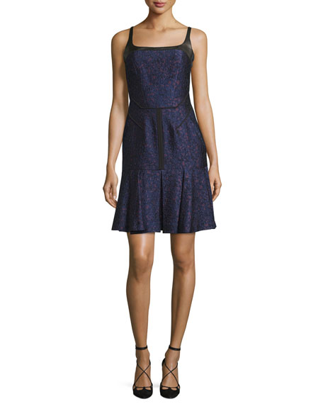 Square-Neck Pleated-Hem Dress, Marine/Vin