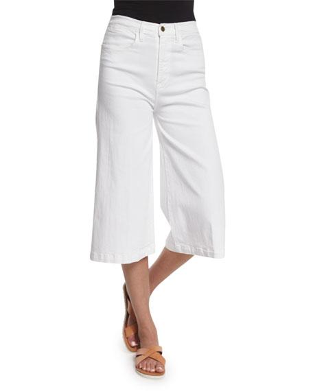 FRAME Le Gaucho High-Waist Jeans, Blanc