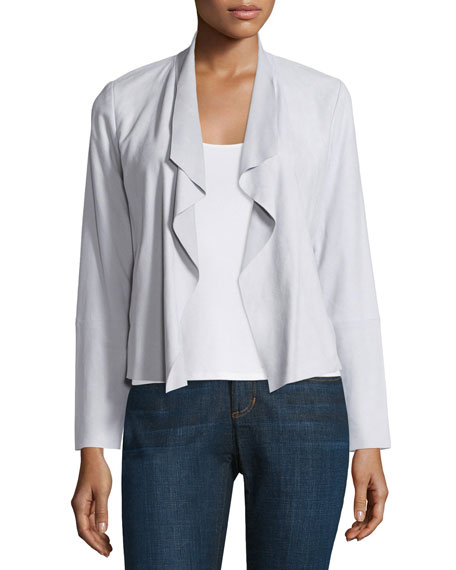 Eileen Fisher Fisher Project Draped-Front Suede Jacket, Pearl
