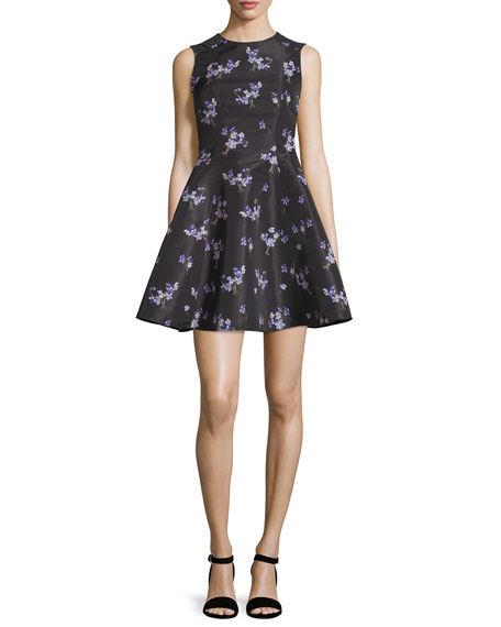 RED Valentino Violet-Print Faille A-Line Dress, Black