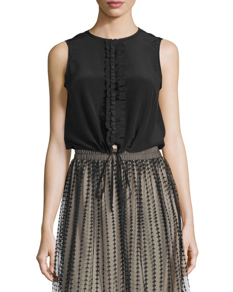 RED Valentino Sleeveless Ruffle-Front Blouse, Black