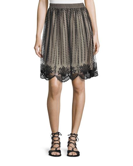 RED Valentino Embroidered Sheer-Overlay Skirt, Black