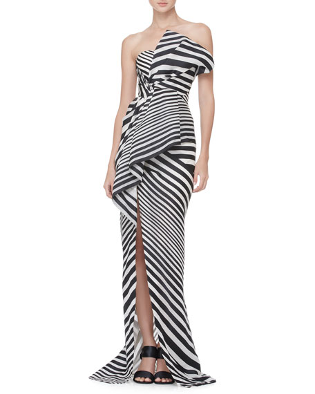 Striped Asymmetric-Fold Gown