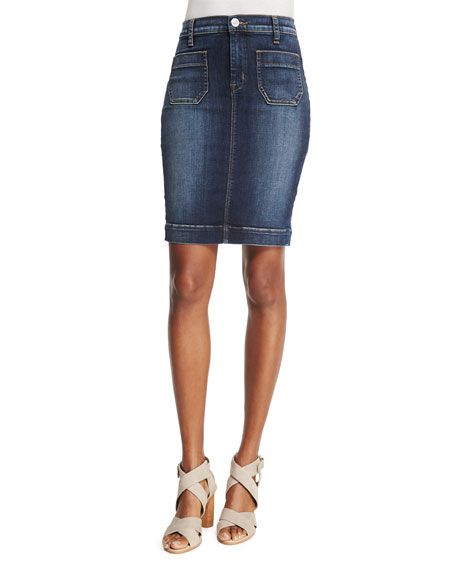 Hudson Fiona Denim Pencil Skirt, Free State
